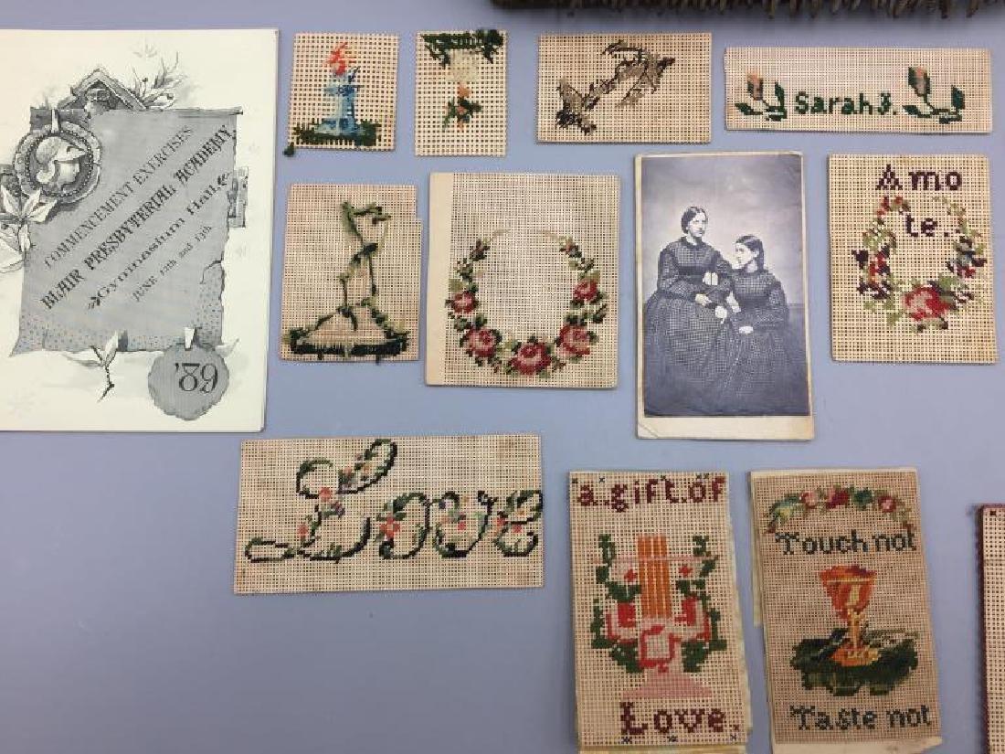 Victorian dresser box w/ hand sewn samples - 4