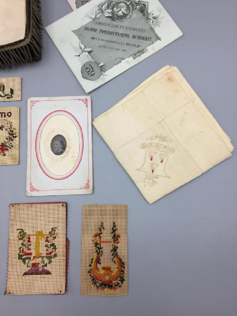 Victorian dresser box w/ hand sewn samples - 5