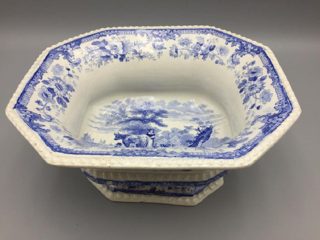 Blue and white  transfer ware tureen