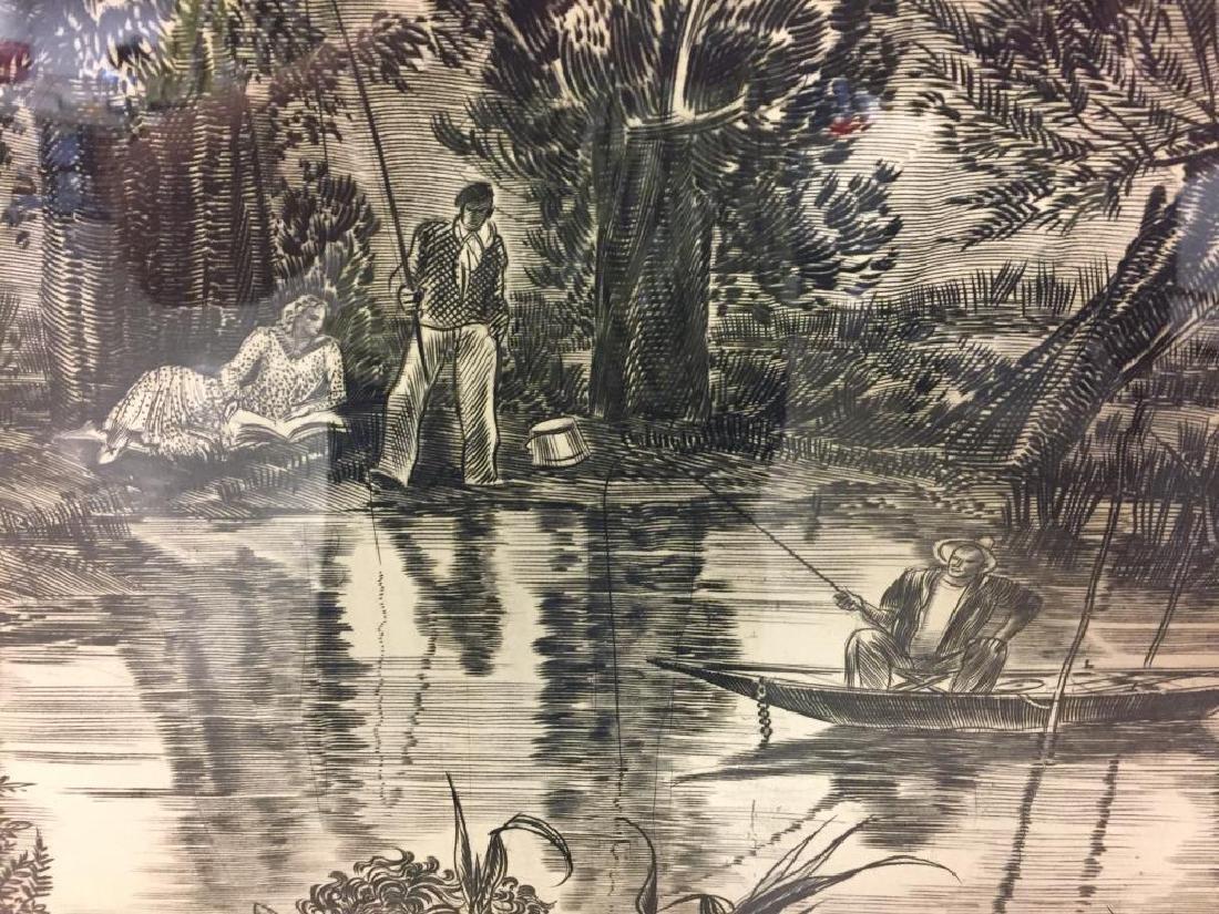 Engraving by Albert Decaris Image of people fishing - 3