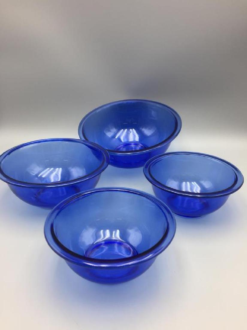Depression glass blue mixing bowls