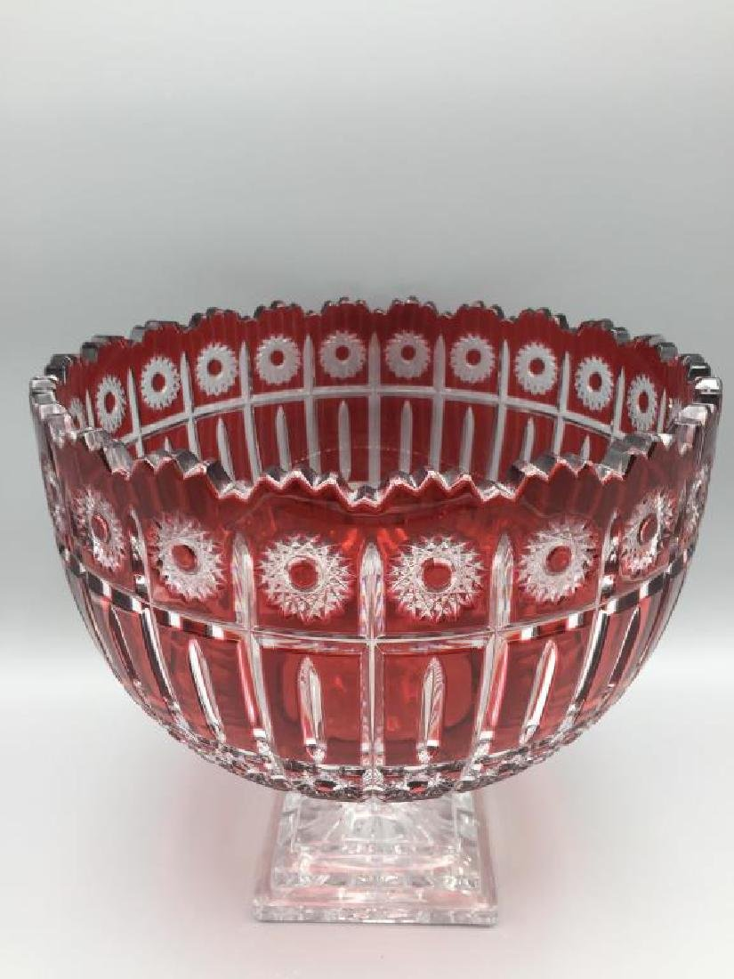 Large cranberry cut to clear punch bowl