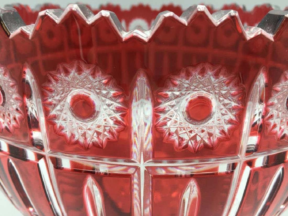 Large cranberry cut to clear punch bowl - 2