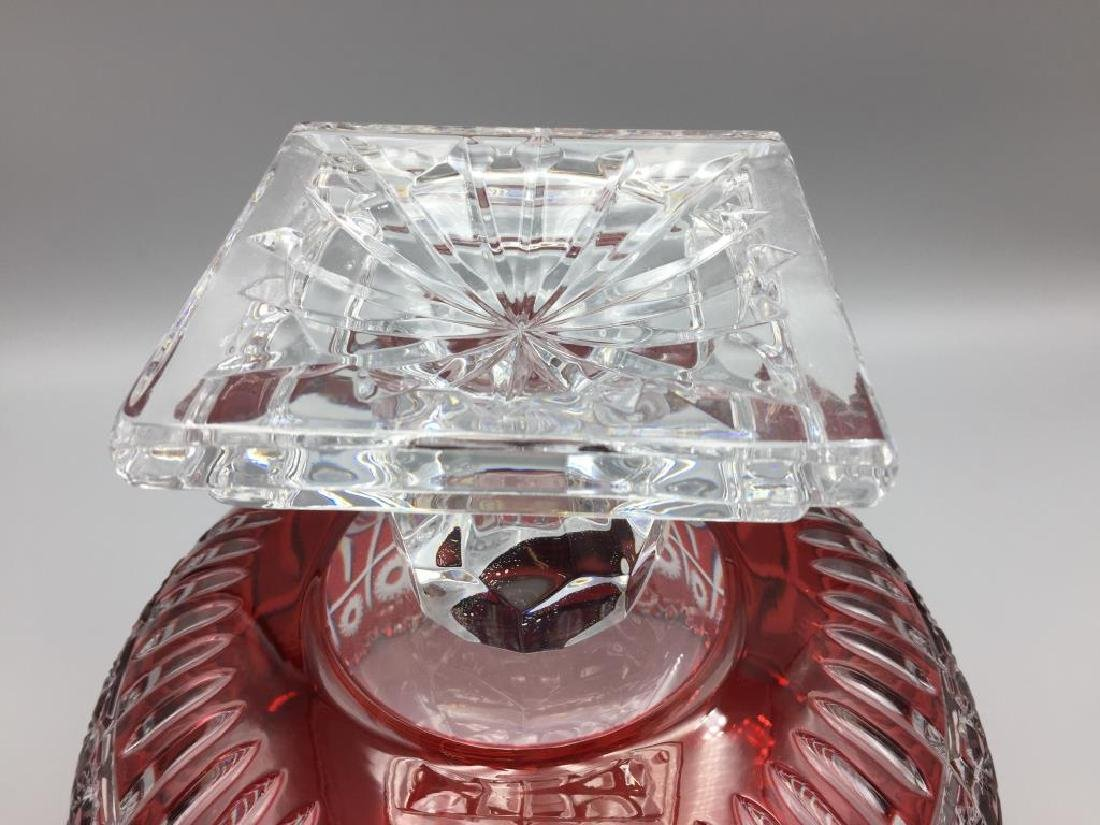 Large cranberry cut to clear punch bowl - 4