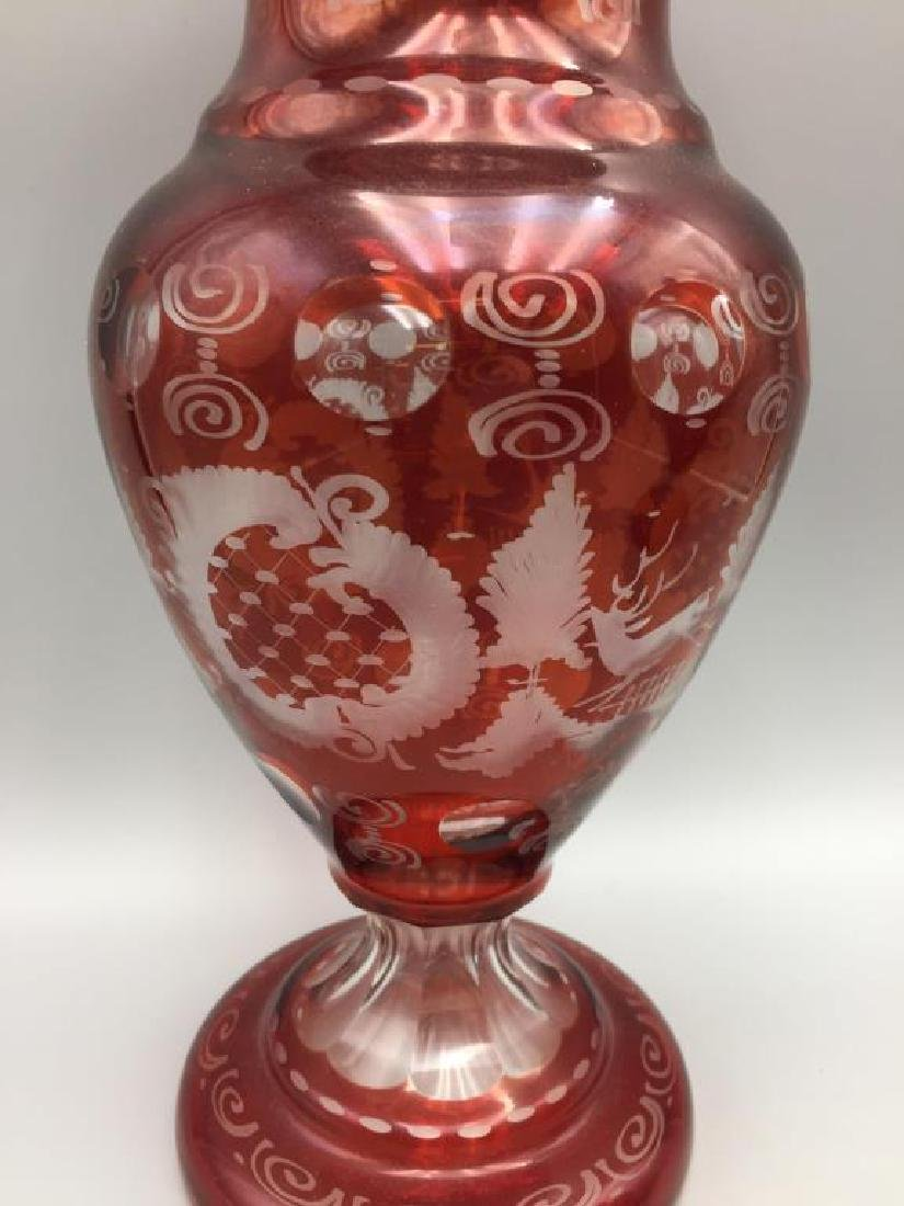 Pr. Cranberry cut to clear covered urns - 3