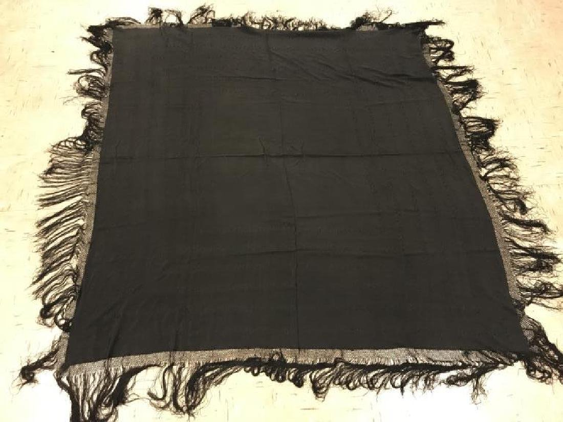 Black embroidered Victorian shawl