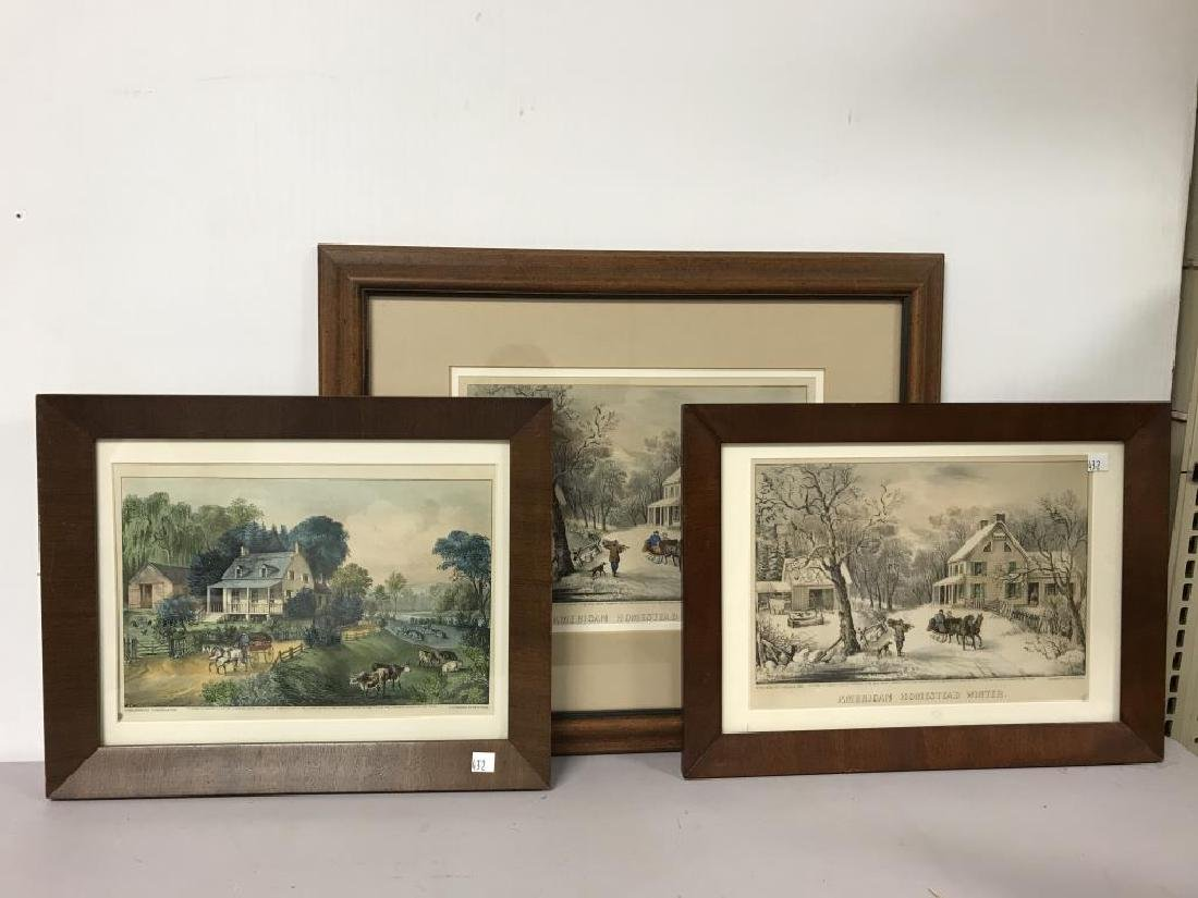 3 Currier & Ives prints