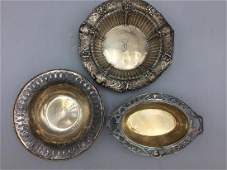 3 small sterling silver bowls