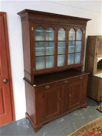 Early two-piece step back cupboard
