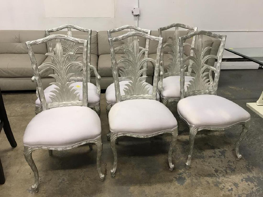 Six Ornate Silver Painted Dining Chairs Oct 02 2018 Tom Hall