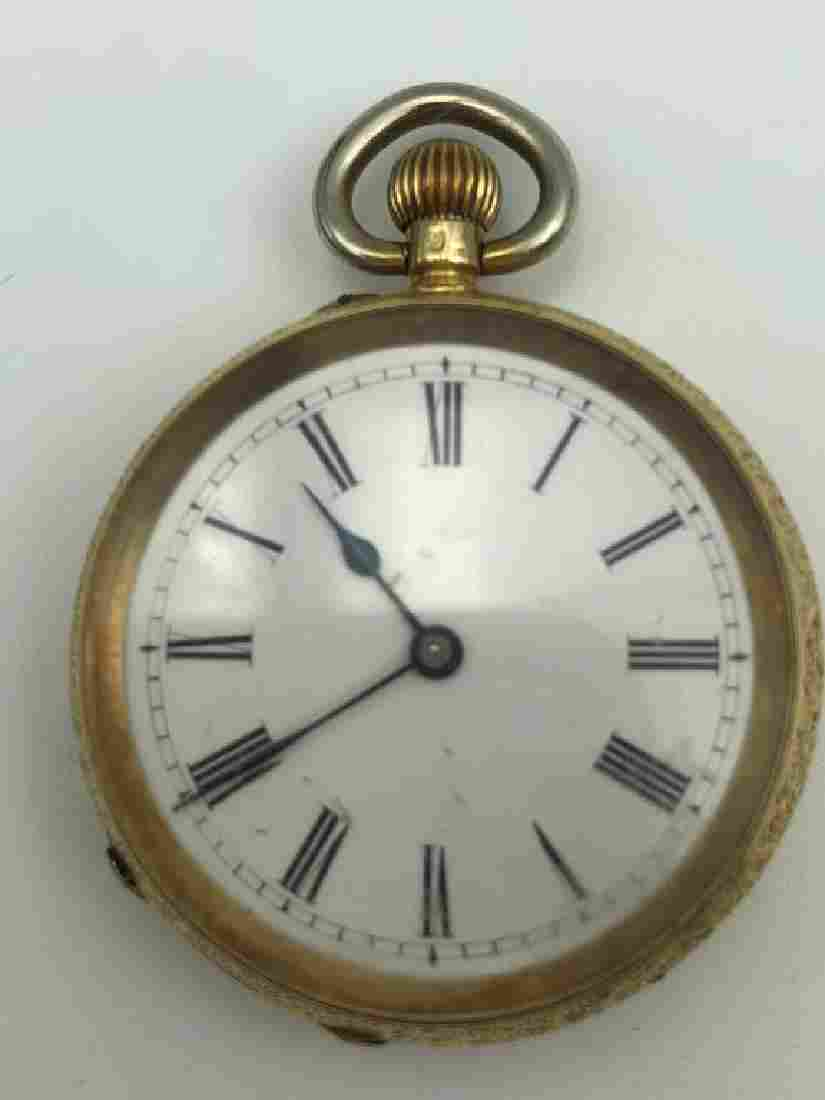18 karat gold open face pocket watch