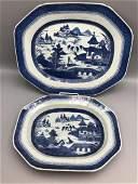 2 Blue  White Canton Porcelain serving pieces