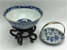 2 Blue  White Porcelain serving pieces