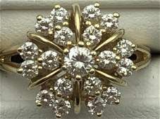 14k Diamond cluster ladies ring