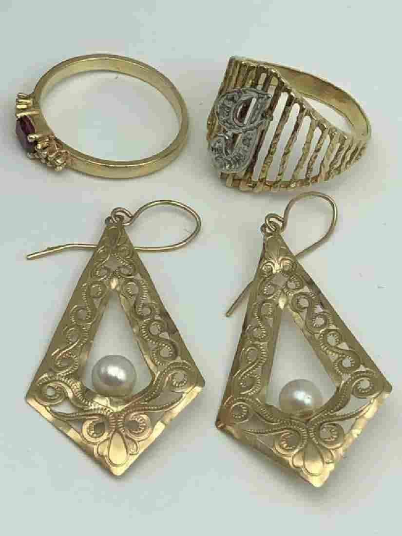 Lot of 3, 14 karat gold items