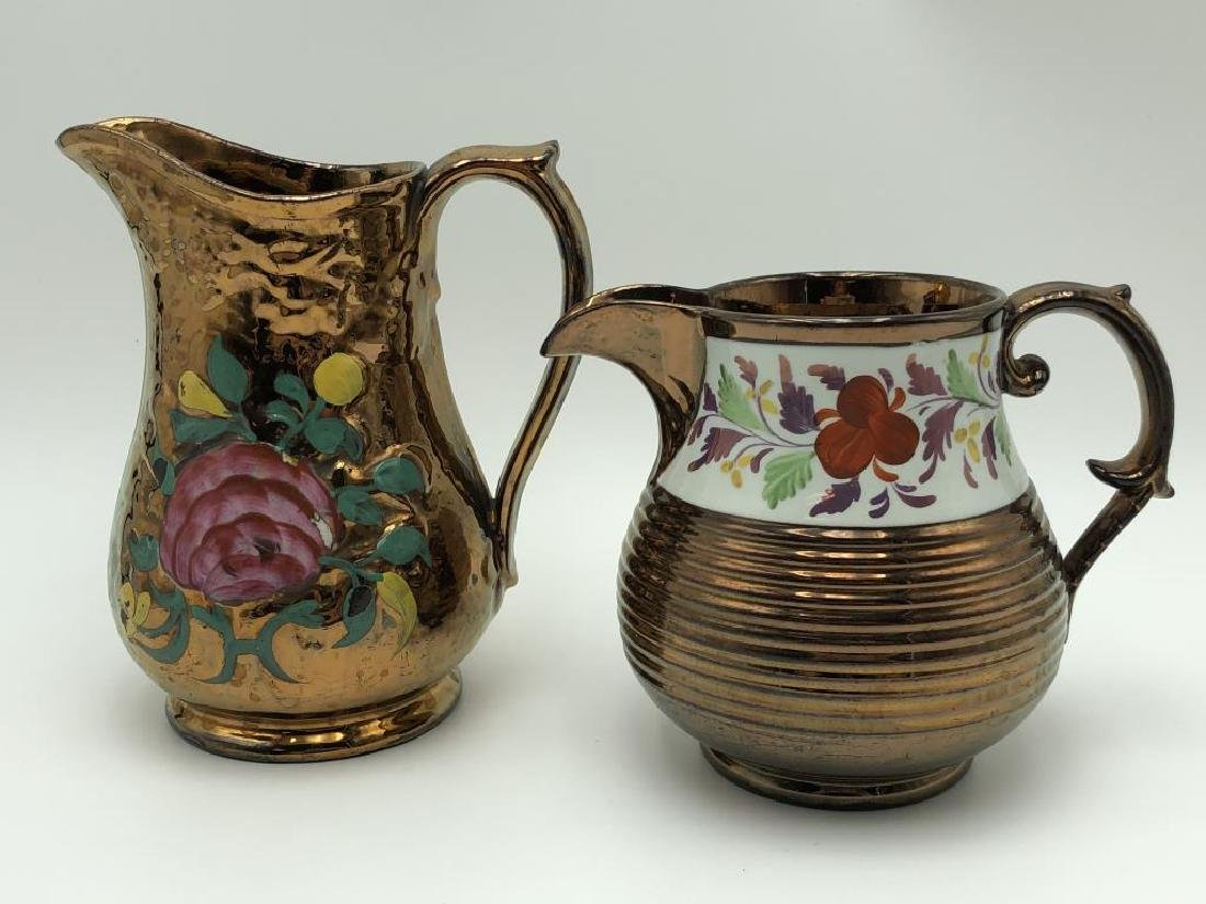 Copper Luster Pitchers, lot of two