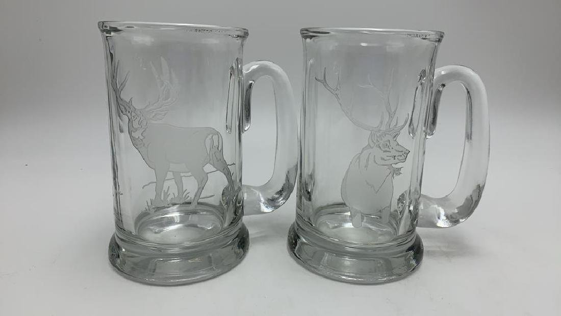 Five piece etched pitcher and mug set - 3