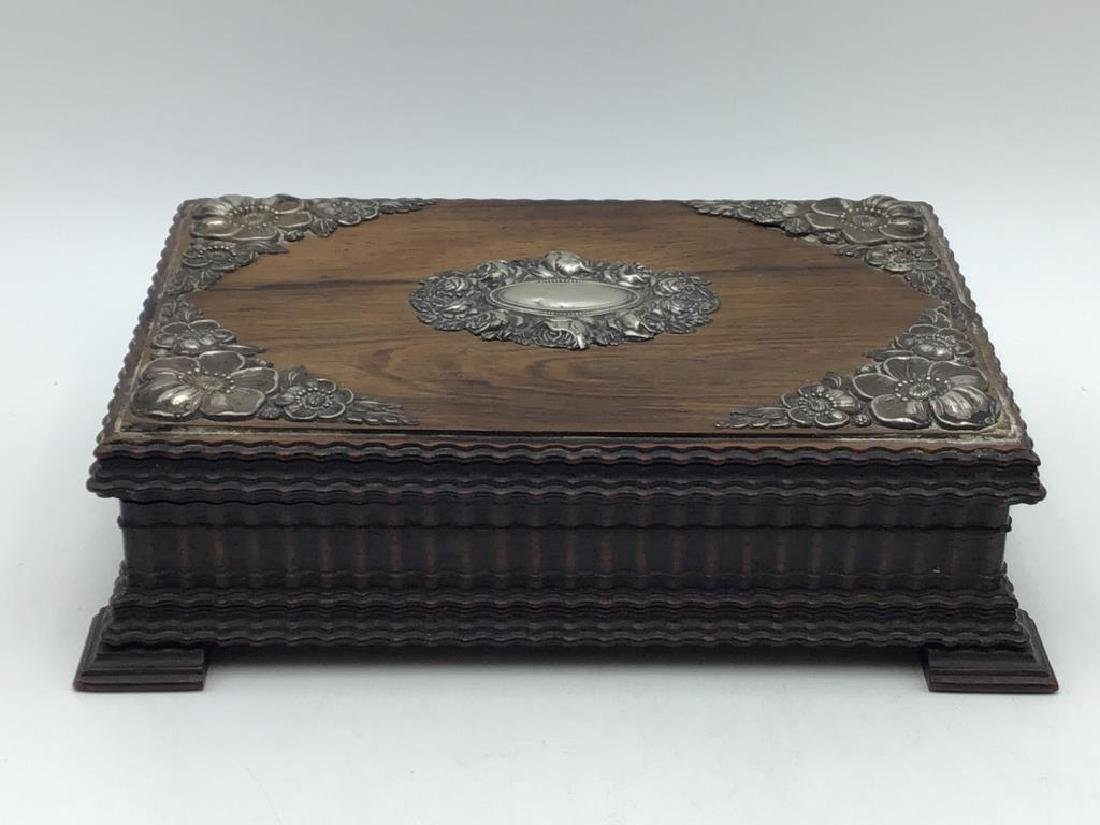 Early carved wood and sterling box