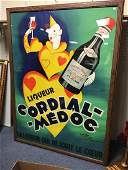 """Large """"Liquor Cordial Medoc"""" French Advertising Poster"""