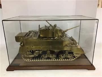 M5A1 brass Tank in Display Case