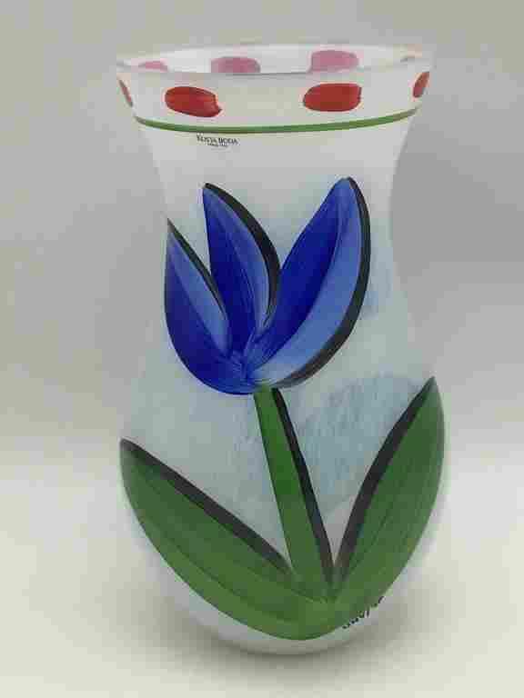 Floral Painted Kosta Boda Vase