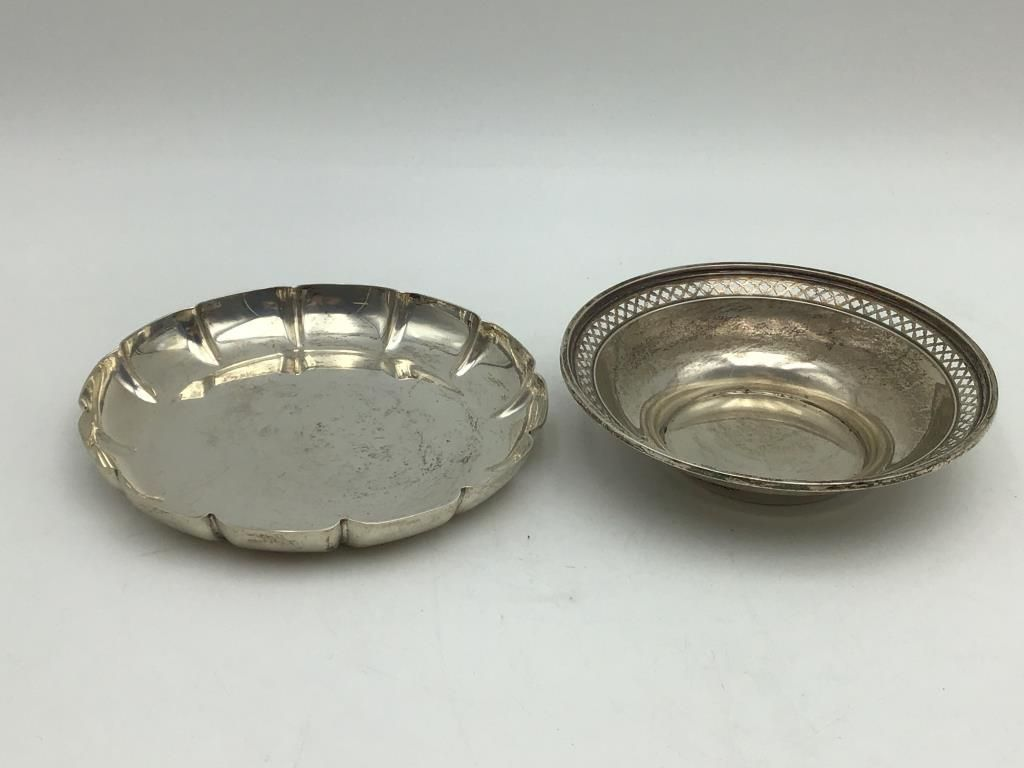 Two Round Sterling Plates