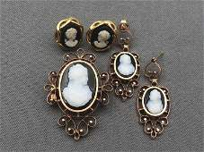 14k gold onyx cameo brooch and earrings set