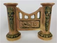 Roseville Florentine Gate double bud vase