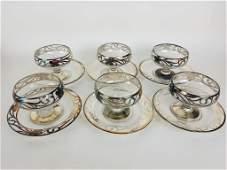 Six of 6 Sterling silver trimmed glass sherbet set