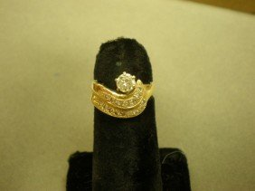 Diamond Ring. 14K Yg (marked) With Swirl Motif, Co