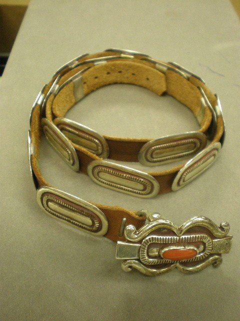 272: Joseph H. Quintana belt. Silver and leather with c