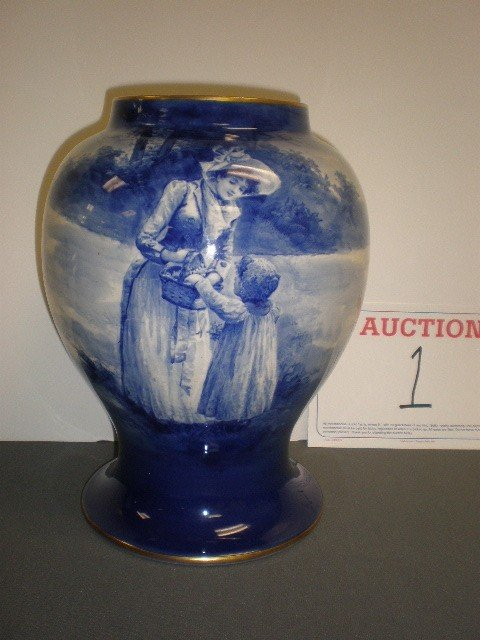 """1: Royal Doulton """"babes in the woods"""" vase. Bulbous for"""