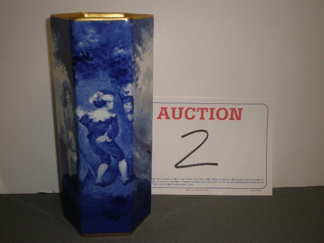"""2: Royal Doulton """"babes in the woods"""" vase. Tall hexago"""