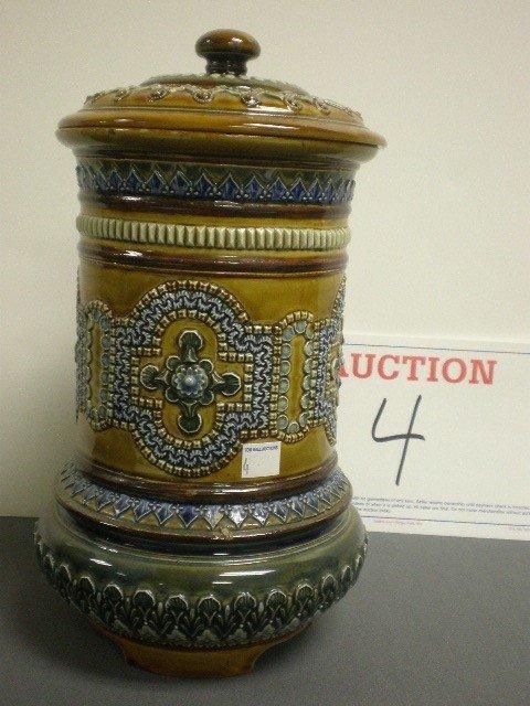 4: Royal Doulton Lambeth pottery lidded dispenser. Embo