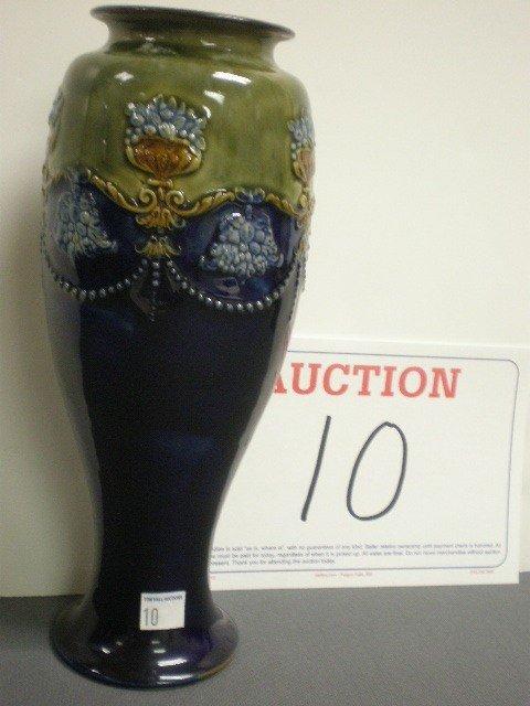 10: Royal Doulton pottery vase. Cobalt and green glaze