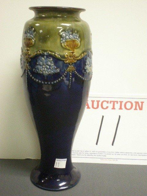 11: Royal Doulton pottery vase. Cobalt and green glaze