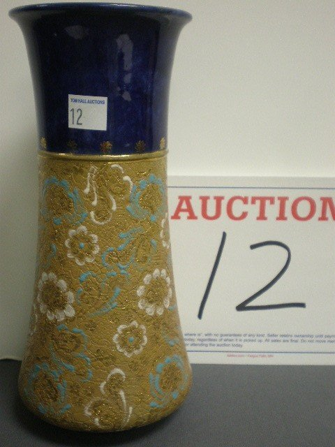 12: Royal Doulton pottery chine vase. Top band of cobal