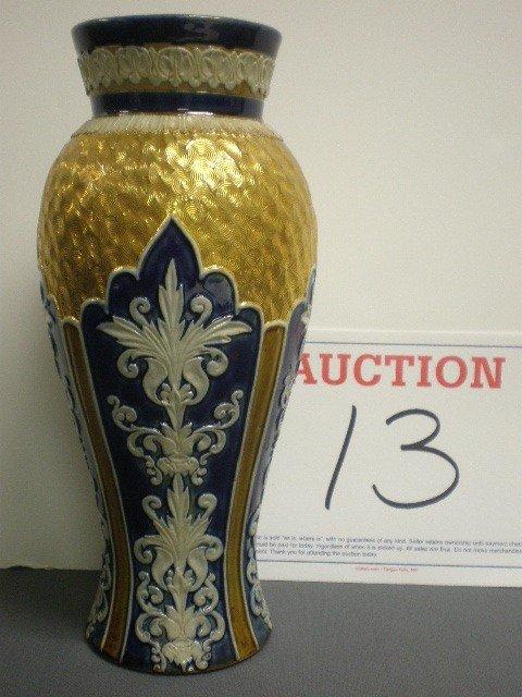 13: Royal Doulton pottery embossed vase. Cobalt backgro