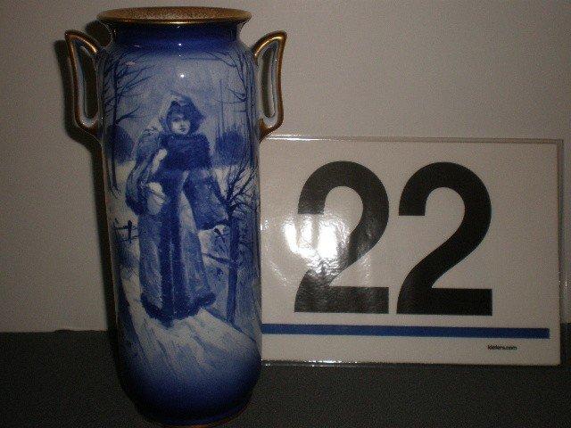 22: Royal Doulton cobalt handled portrait vase. Snow sc
