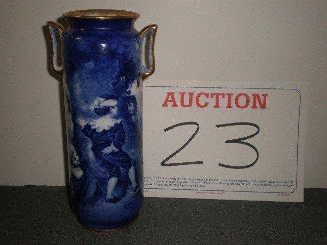 23: Royal Doulton cobalt handled portrait vase. Image o