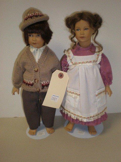 "2001: Lot of 2 dolls - 12"" vinyl with cloth bodies Heid"