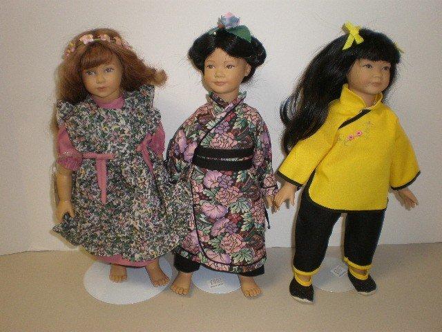 "2003: Lot of 3 dolls - 12"" vinyl with cloth bodies Heid"