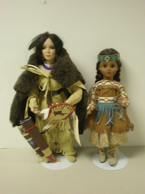 """2015: Lot of 2 modern bisque dolls, 14"""" and 16"""" tall, N"""