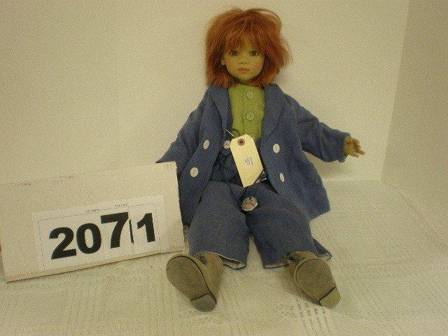 """2071: Annette Himstedt vinyl doll, 27"""" tall, denim outf"""