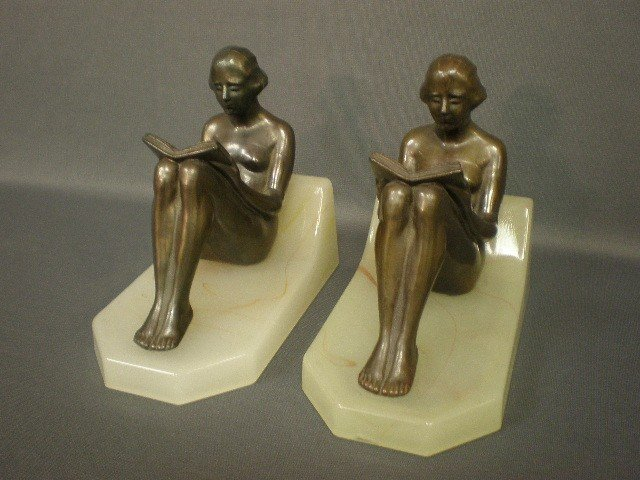 2: Pair of nude figural reading female bookends. Bronze
