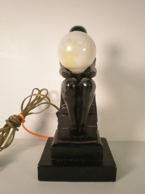4: Betty Beck female figural nude lamp. 1930, blk ptd p