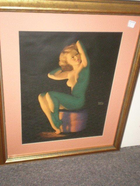 7: Earl Moran female nude calendar print. 1940's Brown