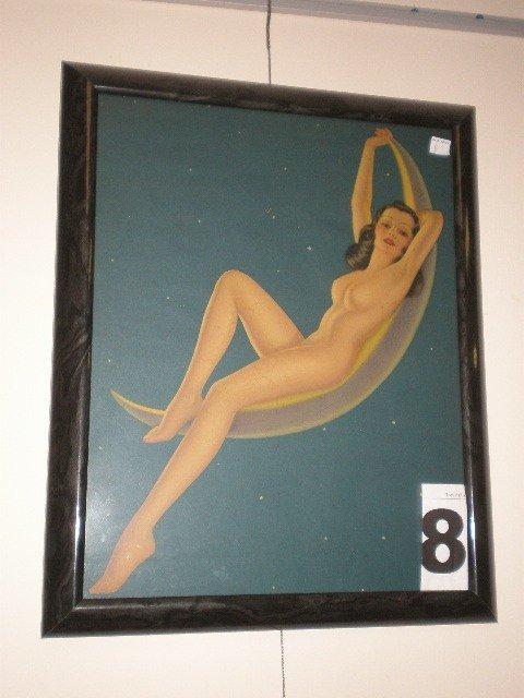 "8: ""Honey-Moon"" nude calendar print. 1930's, brunette f"