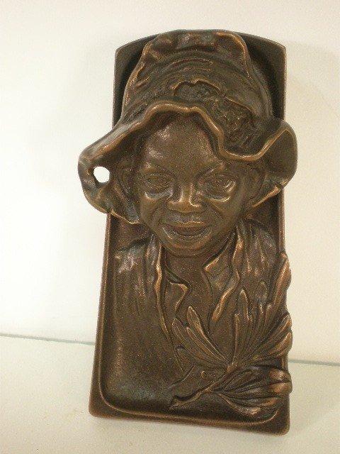 12: Bronze black boy desk accessory. Trapezoidal tray b