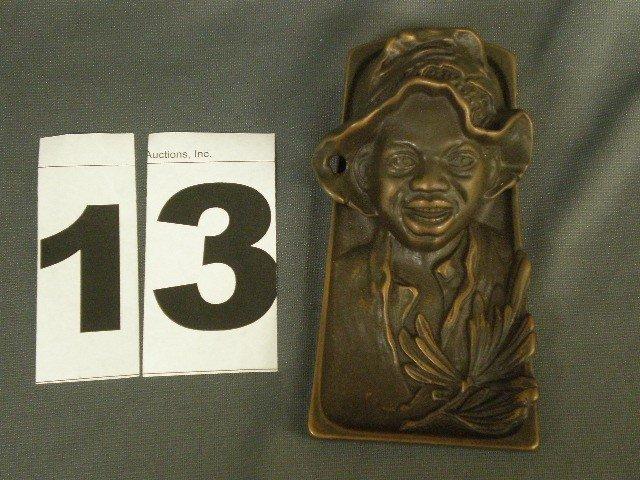 13: Bronze black boy desk accessory. Trapezoidal tray b